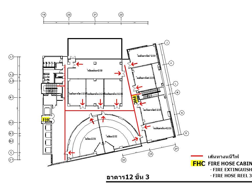 อาคาร 12 ชั้น 3 FIRE HOSE CABINET FHC เส้นทางหนีไฟ - FIRE EXTINGUISHER 10 LBS. - FIRE HOSE REEL 30 M. FHC