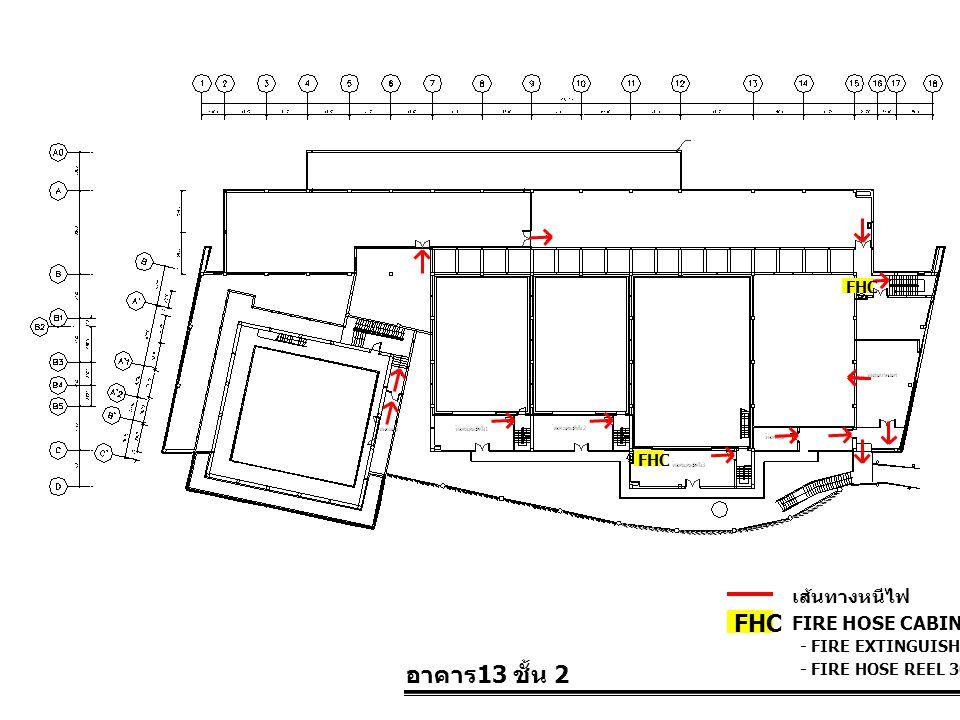 อาคาร 13 ชั้น 2 FIRE HOSE CABINET FHC เส้นทางหนีไฟ - FIRE EXTINGUISHER 10 LBS. - FIRE HOSE REEL 30 M. FHC