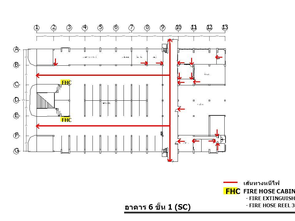 อาคาร 6 ชั้น 1 (SC) FIRE HOSE CABINET FHC เส้นทางหนีไฟ - FIRE EXTINGUISHER 10 LBS. - FIRE HOSE REEL 30 M. FHC