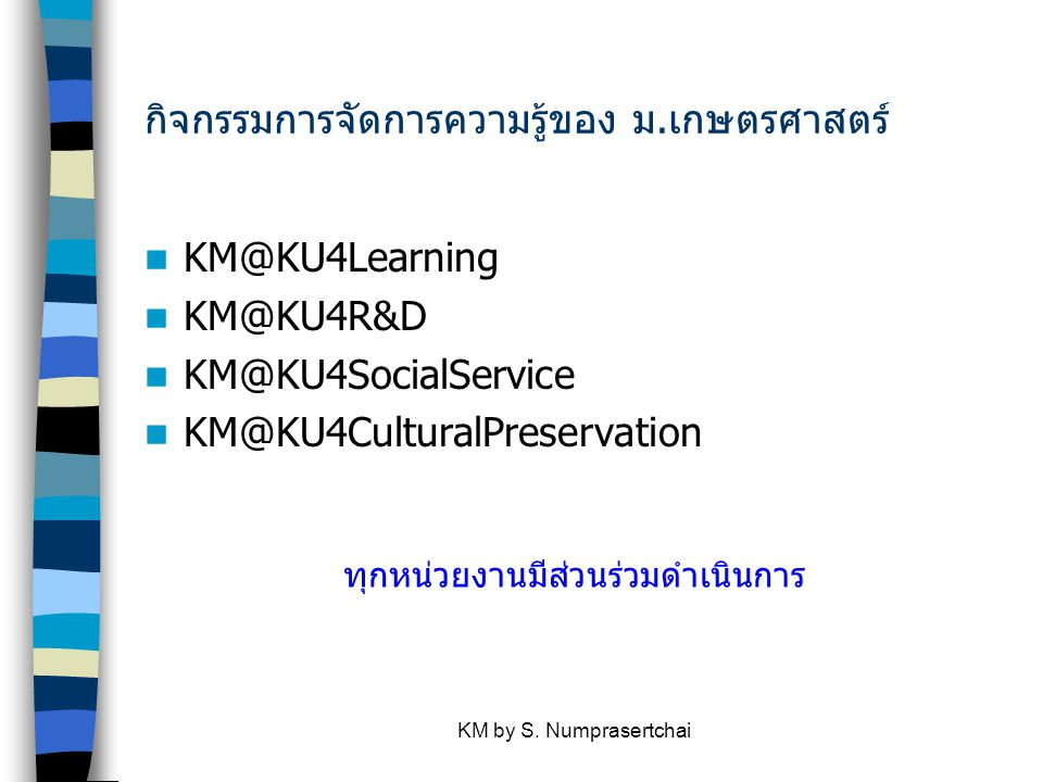 KM by S. Numprasertchai ขอบคุณครับ Thank you for your attention 本当にありがとう 謝謝