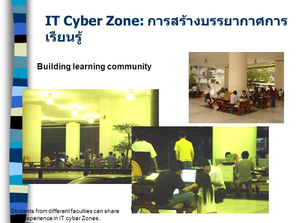 KM by S. Numprasertchai Building learning community Students from different faculties can share their experience in IT cyber Zones. IT Cyber Zone: การ