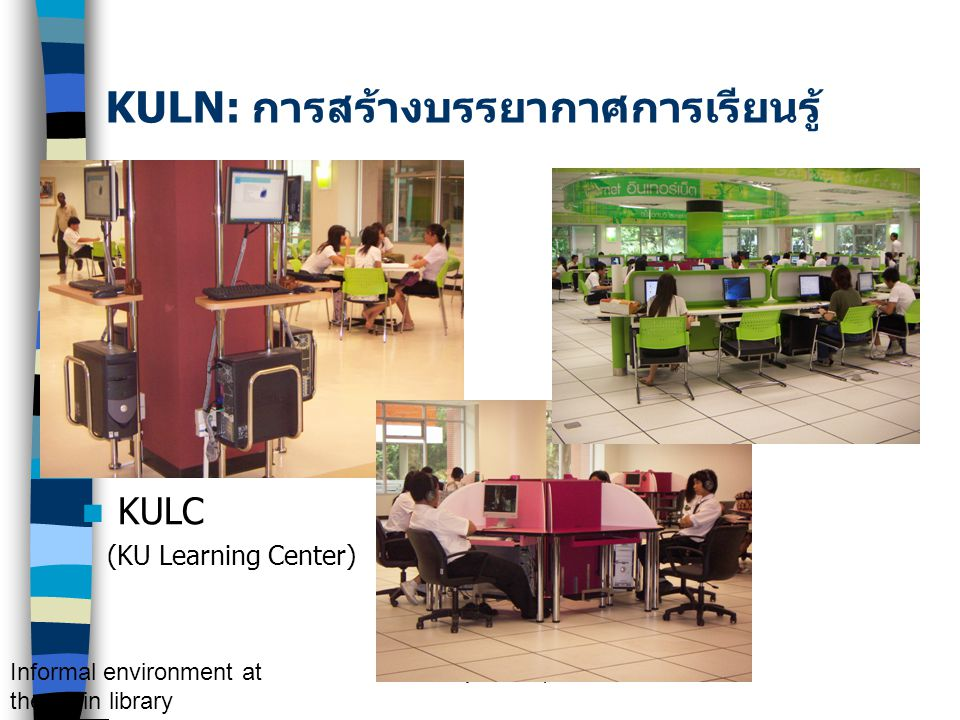 KM by S. Numprasertchai KULC (KU Learning Center) Informal environment at the main library KULN: การสร้างบรรยากาศการเรียนรู้