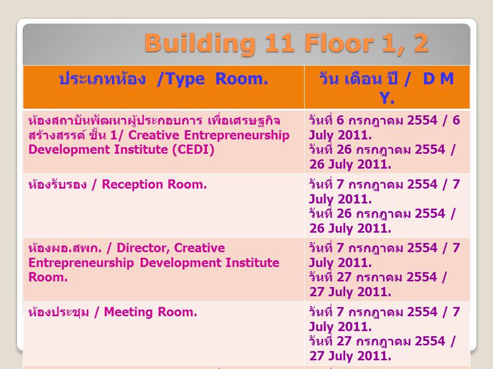 Building 11 Floor 1, 2 ประเภทห้อง /Type Room. วัน เดือน ปี / D M Y.
