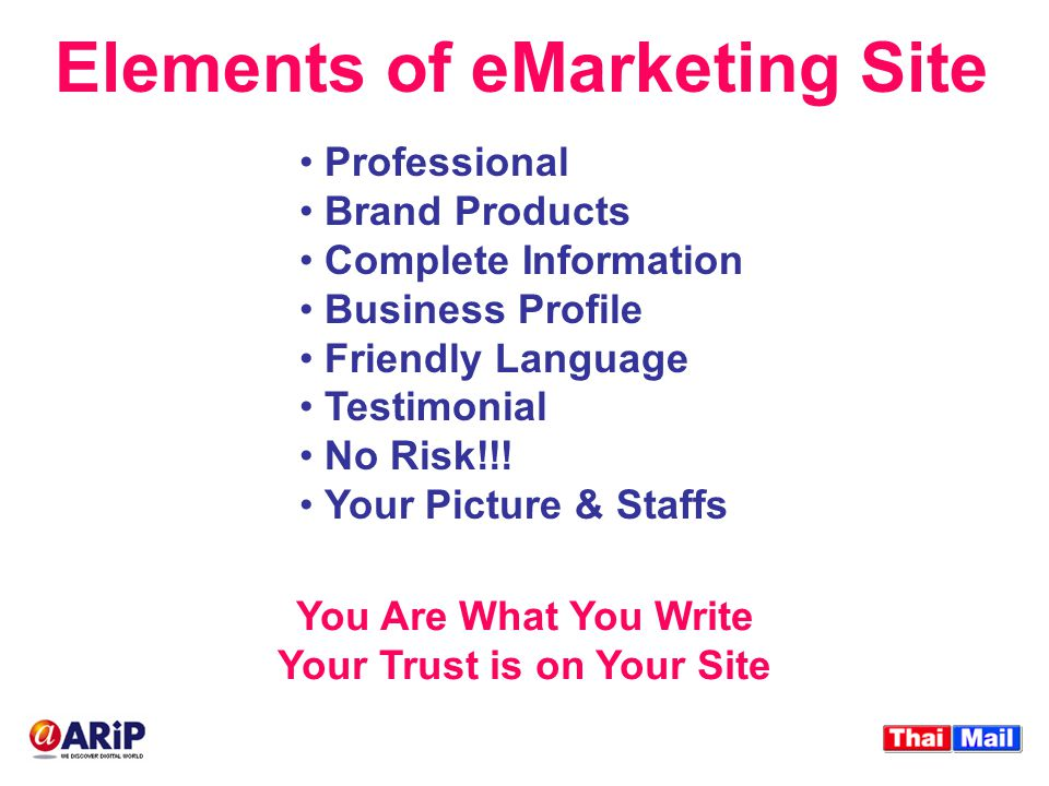 Elements of eMarketing Site Professional Brand Products Complete Information Business Profile Friendly Language Testimonial No Risk!!.