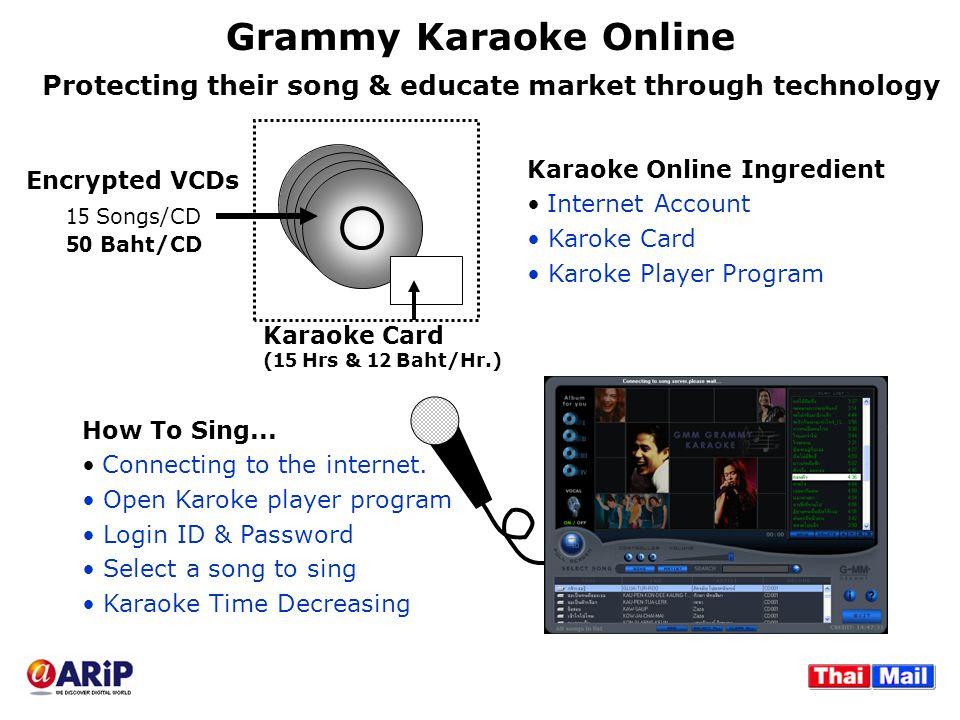 Grammy Karaoke Online Karaoke Online Ingredient Internet Account Karoke Card Karoke Player Program Karaoke Card (15 Hrs & 12 Baht/Hr.) Encrypted VCDs