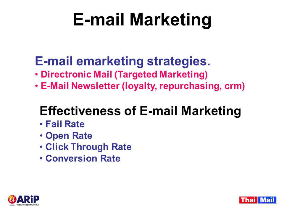 E-mail Marketing E-mail emarketing strategies. Directronic Mail (Targeted Marketing) E-Mail Newsletter (loyalty, repurchasing, crm) Effectiveness of E