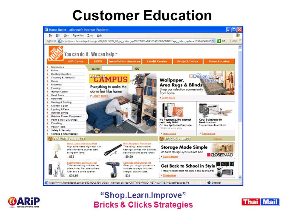 "Customer Education ""Shop.Learn.Improve"" Bricks & Clicks Strategies"