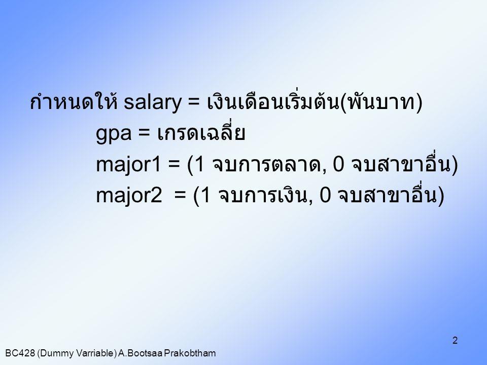 BC428 (Dummy Varriable) A.Bootsaa Prakobtham 2 กำหนดให้ salary = เงินเดือนเริ่มต้น ( พันบาท ) gpa = เกรดเฉลี่ย major1 = (1 จบการตลาด, 0 จบสาขาอื่น ) m