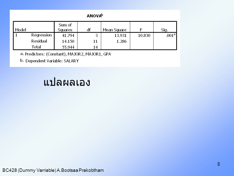 BC428 (Dummy Varriable) A.Bootsaa Prakobtham 5 แปลผลเอง