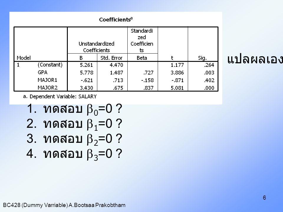 BC428 (Dummy Varriable) A.Bootsaa Prakobtham 7 ดังนั้นจะได้สมการเป็น ^ Saraly=5.778GPA+3.43Major2 เมื่อกำหนดค่า GPA จะได้ ถ้าเป็นภาควิชาการตลาด จะได้ ^ Saraly=5.778GPA ถ้าเป็นภาควิชาการเงิน จะได้ ^ Saraly=5.778GPA+3.43 ถ้าเป็นภาควิชาการจัดการ จะได้ ^ Saraly=5.778GPA