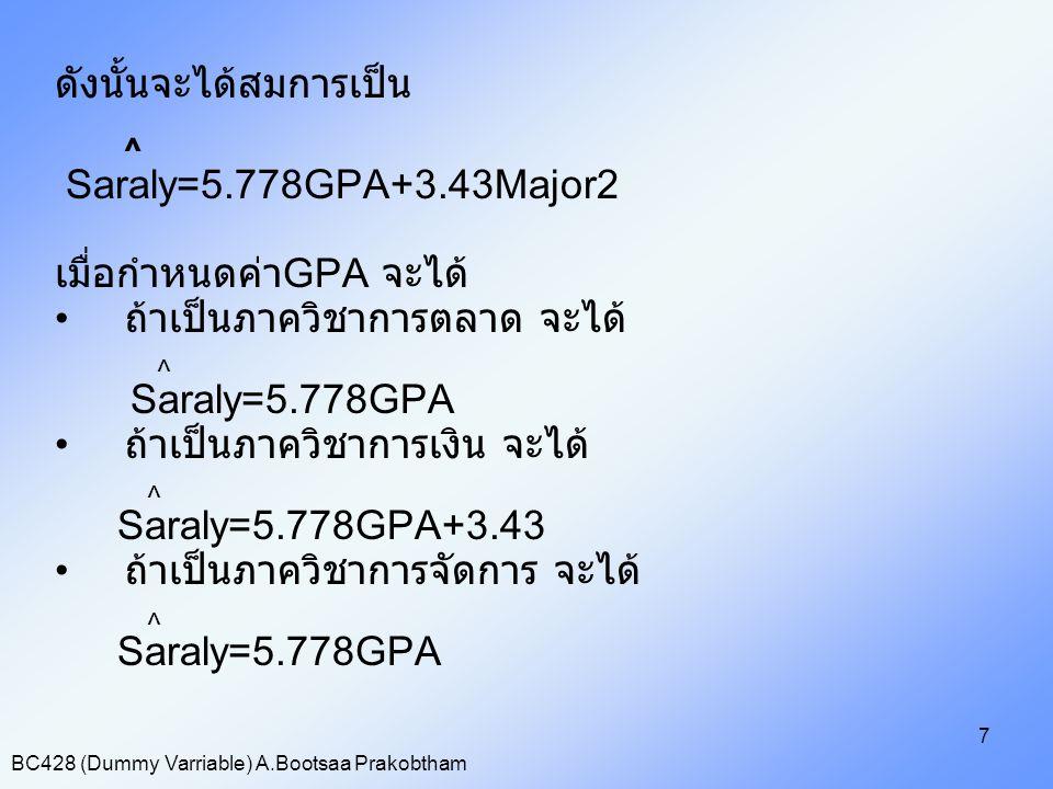 BC428 (Dummy Varriable) A.Bootsaa Prakobtham 7 ดังนั้นจะได้สมการเป็น ^ Saraly=5.778GPA+3.43Major2 เมื่อกำหนดค่า GPA จะได้ ถ้าเป็นภาควิชาการตลาด จะได้