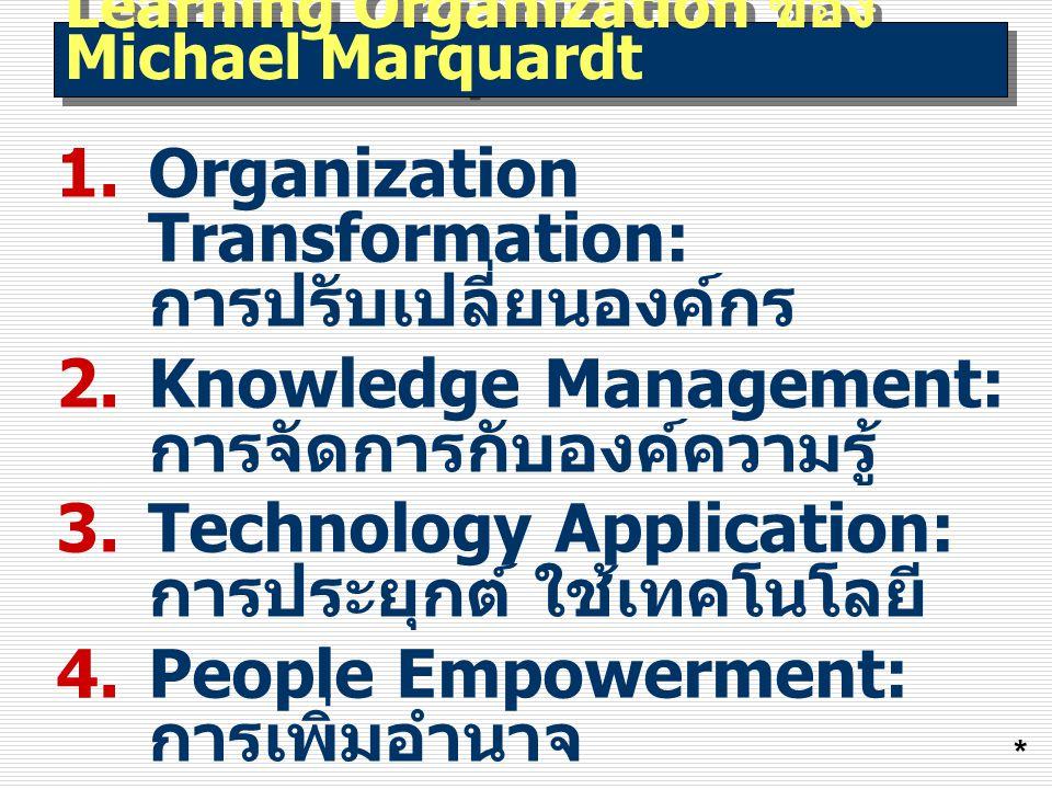 Learning Organization ของ Michael Marquardt 1.Organization Transformation: การปรับเปลี่ยนองค์กร 2.Knowledge Management: การจัดการกับองค์ความรู้ 3.Technology Application: การประยุกต์ ใช้เทคโนโลยี 4.People Empowerment: การเพิ่มอำนาจ 5.Learning Dynamics: พลวัตการเรียนรู้ *