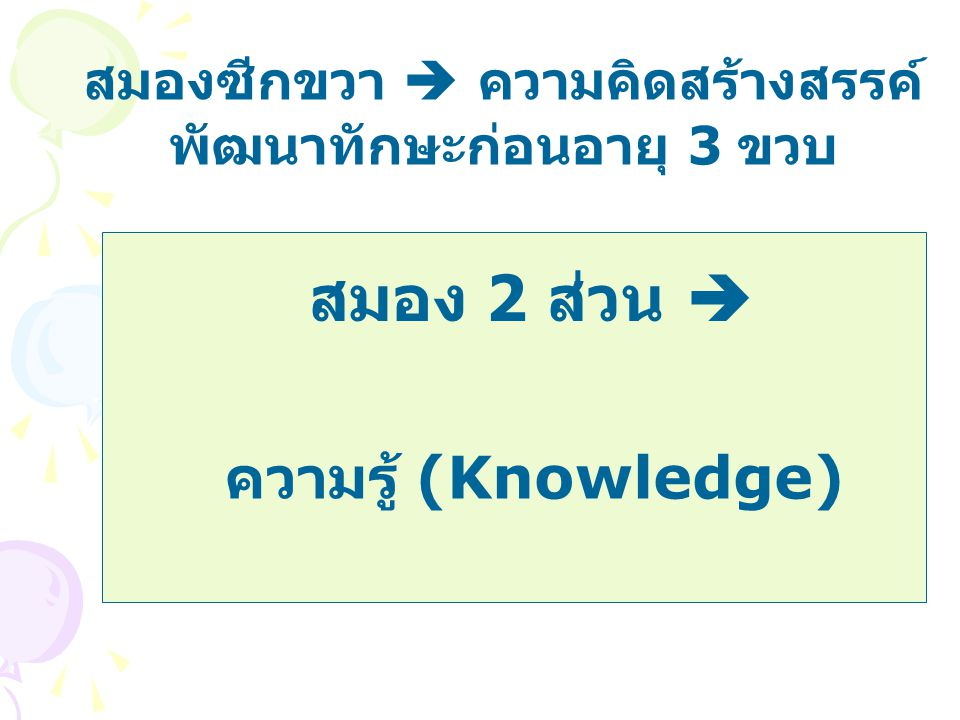 สมองซีกขวา  ความคิดสร้างสรรค์ พัฒนาทักษะก่อนอายุ 3 ขวบ ความรู้ (Knowledge) สมอง 2 ส่วน 