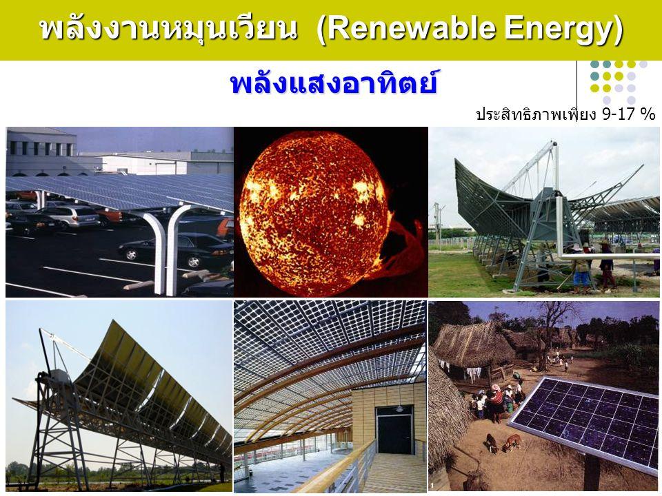 12 พลังงานหมุนเวียน (Renewable Energy) พลังแสงอาทิตย์ ประสิทธิภาพเพียง 9-17 %