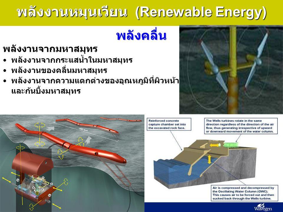 32 พลังงานหมุนเวียน (Renewable Energy) พลังคลื่น พลังงานจากมหาสมุทร พลังงานจากกระแสน้ำในมหาสมุทร พลังงานของคลื่นมหาสมุทร พลังงานจากความแตกต่างของอุณหภ