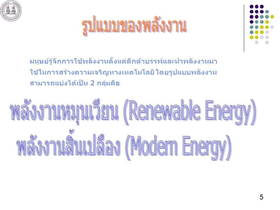 5 มนุษย์รู้จักการใช้พลังงานตั้งแต่ดึกดำบรรพ์และนำพลังงานมา ใช้ในการสร้างความเจริญทางเทคโนโลยี โดยรูปแบบพลังงาน สามารถแบ่งได้เป็น 2 กลุ่มคือ