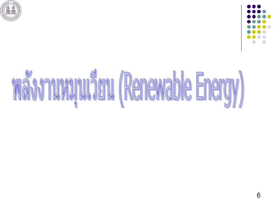 17 กังหันลมที่มีขนาดใหญ่ที่สุดในโลก รัศมี 60 เมตร สามารถผลิตกระแสไฟฟ้าได้ประมาณ 5 MW เยอรมัน 18,428 MW สเปน 10,027 MW อเมริกา 9,149 MW อินเดีย 4,430 MW เดนมาร์ก 3,128 MW ไทย 0.223 MW(223 kW ที่แหลมพรหมเทพ จ.