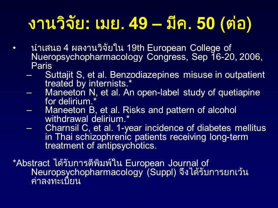 งานวิจัย : เมย. 49 – มีค. 50 ( ต่อ ) นำเสนอ 4 ผลงานวิจัยใน 19th European College of Nueropsychopharmacology Congress, Sep 16-20, 2006, Paris –Suttajit
