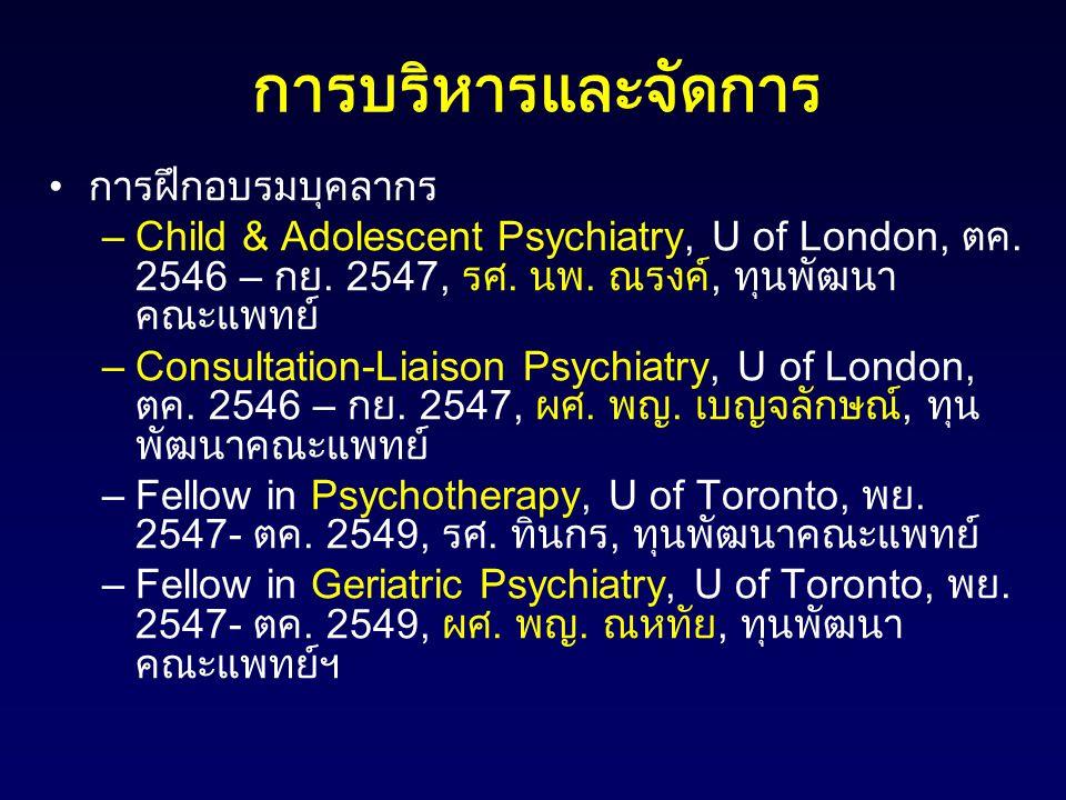 การบริหารและจัดการ การฝึกอบรมบุคลากร –Child & Adolescent Psychiatry, U of London, ตค. 2546 – กย. 2547, รศ. นพ. ณรงค์, ทุนพัฒนา คณะแพทย์ –Consultation-