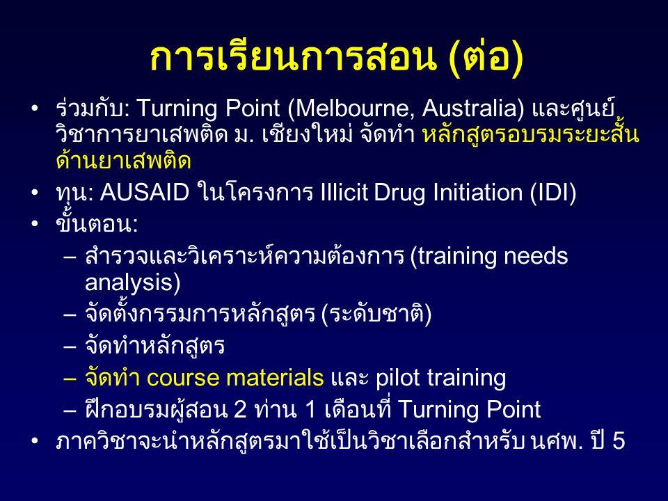 การเรียนการสอน ( ต่อ ) ร่วมกับ: Turning Point (Melbourne, Australia) และศูนย์ วิชาการยาเสพติด ม. เชียงใหม่ จัดทำ หลักสูตรอบรมระยะสั้น ด้านยาเสพติด ทุน