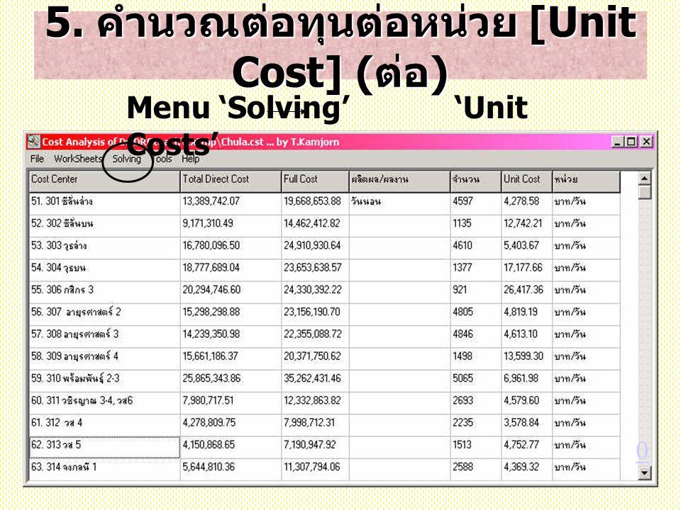 5. คำนวณต่อทุนต่อหน่วย [Unit Cost] ( ต่อ ) Menu 'Solving' 'Unit Costs' 0