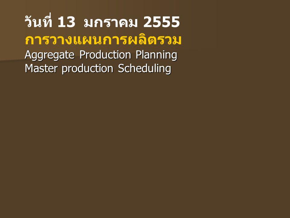 วันที่ 13 มกราคม 2555 การวางแผนการผลิตรวม Aggregate Production Planning Master production Scheduling