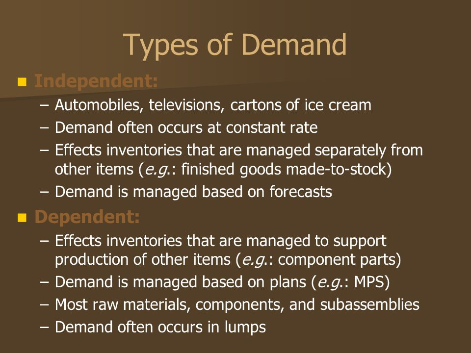 Types of Demand Independent: – –Automobiles, televisions, cartons of ice cream – –Demand often occurs at constant rate – –Effects inventories that are