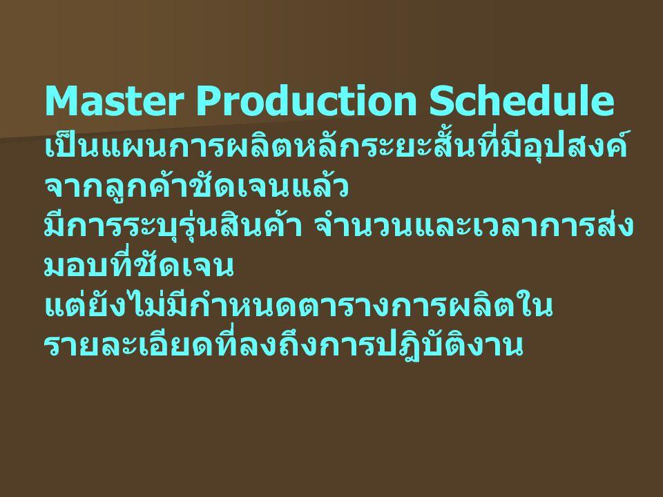 Master Production Schedule เป็นแผนการผลิตหลักระยะสั้นที่มีอุปสงค์ จากลูกค้าชัดเจนแล้ว มีการระบุรุ่นสินค้า จำนวนและเวลาการส่ง มอบที่ชัดเจน แต่ยังไม่มีก