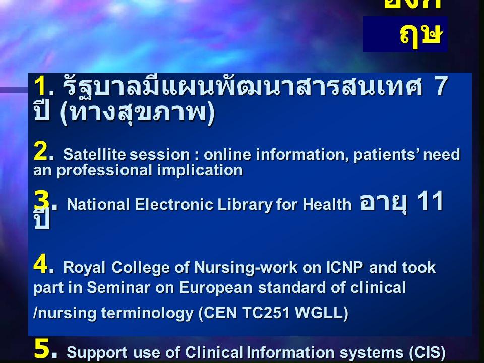 สวีเด น 1. มีการสำรวจคำที่พยาบาลใช้ในการ บันทึกเกี่ยวกับผู้ป่วย การใช้บันทึก ผู้ป่วยในการตัดสินใจ 2. มีการใช้ทุนวิจัยเกี่ยวกับคำศัพท์ ทางการพยาบาล โดย