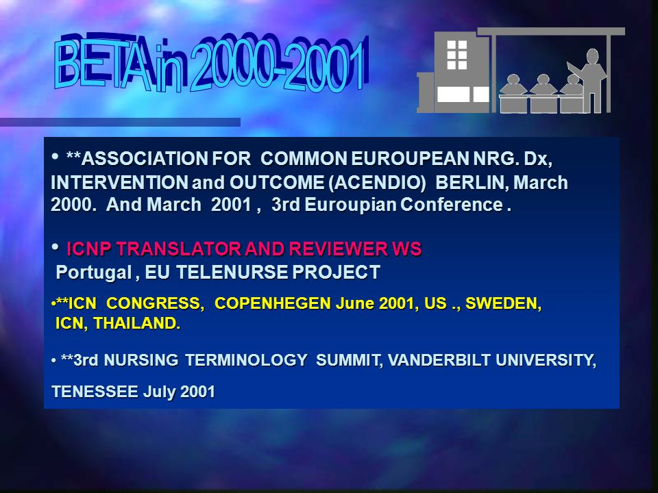 **ASSOCIATION FOR COMMON EUROUPEAN NRG.Dx, INTERVENTION and OUTCOME (ACENDIO) BERLIN, March 2000.