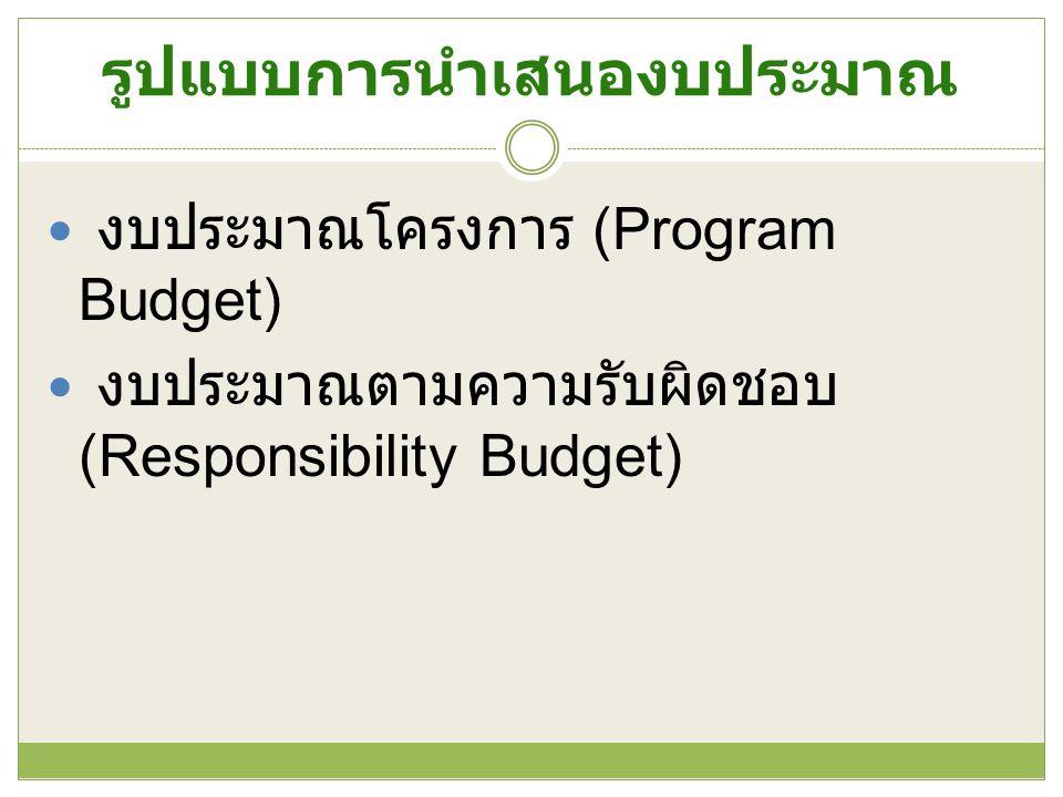 รูปแบบการนำเสนองบประมาณ งบประมาณโครงการ (Program Budget) งบประมาณตามความรับผิดชอบ (Responsibility Budget)