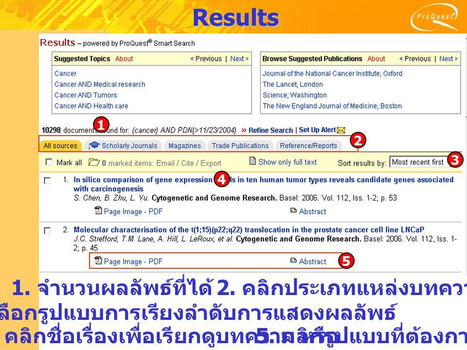 Results 1.จำนวนผลลัพธ์ที่ได้ 2. คลิกประเภทแหล่งบทความ 3.