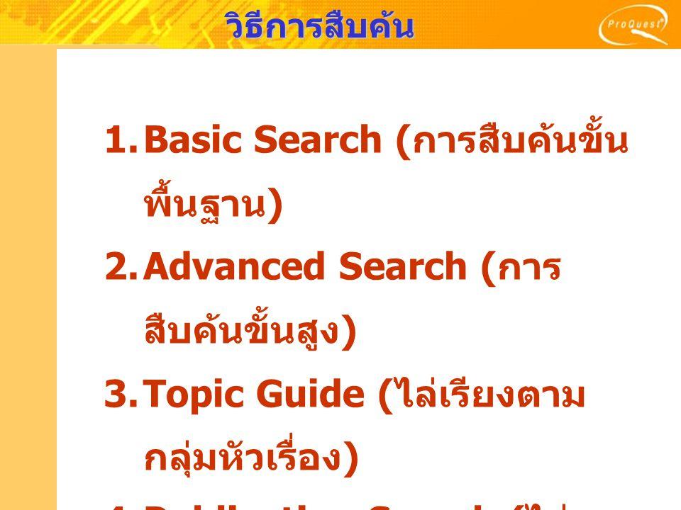 วิธีการสืบค้น 1.Basic Search ( การสืบค้นขั้น พื้นฐาน ) 2.Advanced Search ( การ สืบค้นขั้นสูง ) 3.Topic Guide ( ไล่เรียงตาม กลุ่มหัวเรื่อง ) 4.Publication Search ( ไล่ เรียงตามรายชื่อสิ่งพิมพ์ )