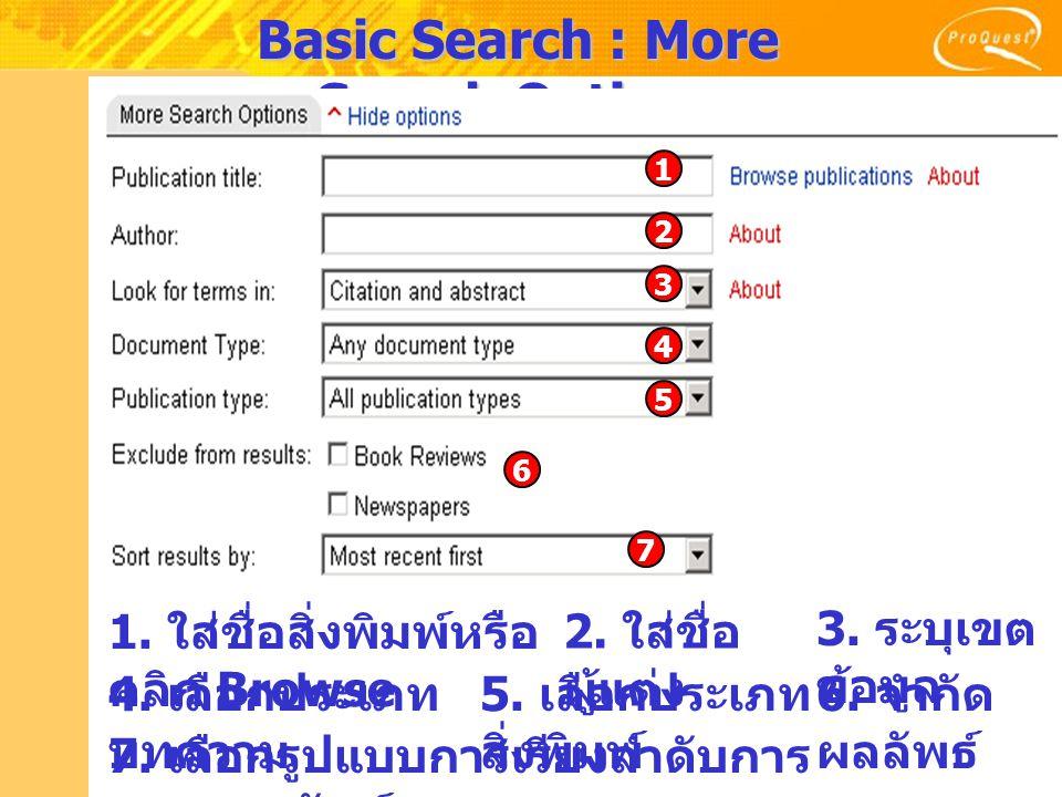 Basic Search : More Search Options 1. ใส่ชื่อสิ่งพิมพ์หรือ คลิก Browse 2.