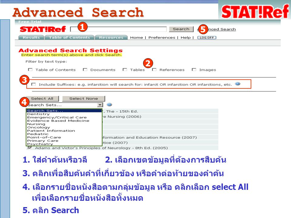 Browse :Table of Contents 1. คลิก Table of Contents2. คลิกเลือกเรื่องที่สนใจ 1 2