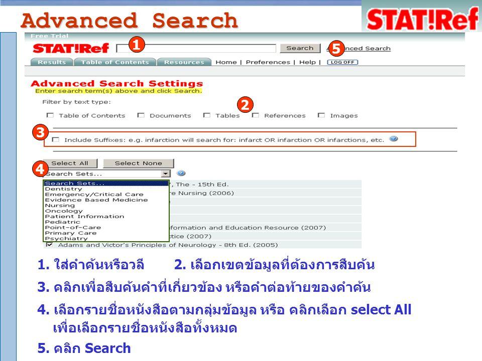 Advanced Search 2. เลือกเขตข้อมูลที่ต้องการสืบค้น 3.