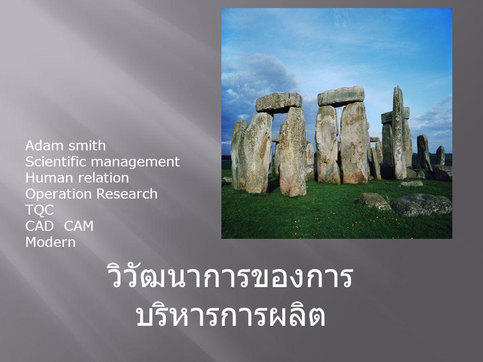วิวัฒนาการของการ บริหารการผลิต Adam smith Scientific management Human relation Operation Research TQC CAD CAM Modern