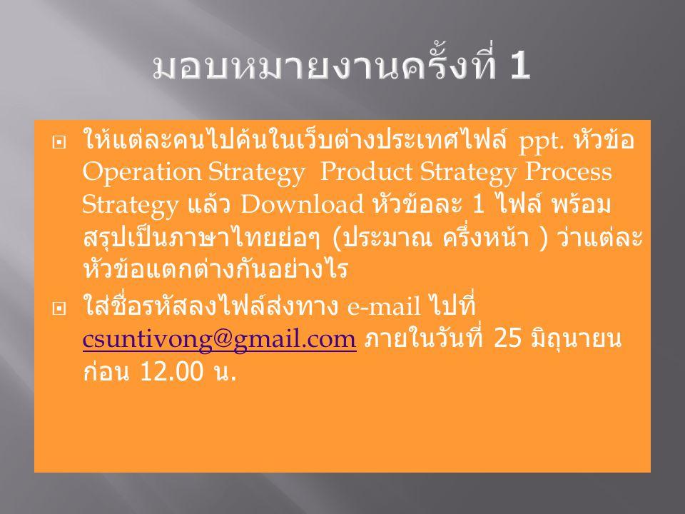 ให้แต่ละคนไปค้นในเว็บต่างประเทศไฟล์ ppt. หัวข้อ Operation Strategy Product Strategy Process Strategy แล้ว Download หัวข้อละ 1 ไฟล์ พร้อม สรุปเป็นภาษ
