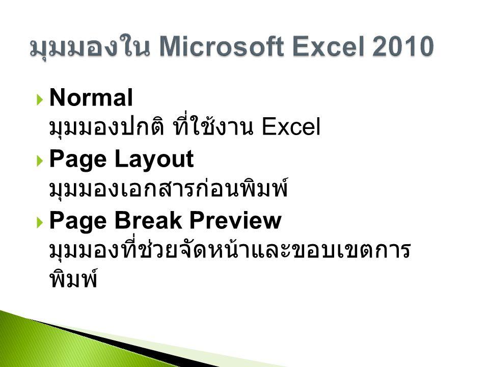  Normal มุมมองปกติ ที่ใช้งาน Excel  Page Layout มุมมองเอกสารก่อนพิมพ์  Page Break Preview มุมมองที่ช่วยจัดหน้าและขอบเขตการ พิมพ์