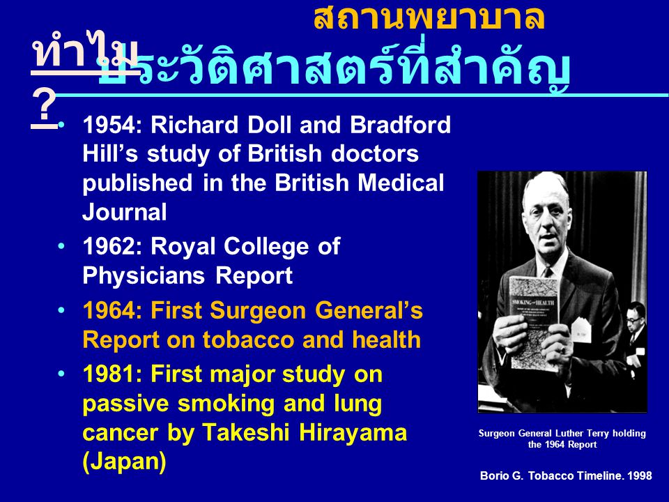 ประวัติศาสตร์ที่สำคัญ 1954: Richard Doll and Bradford Hill's study of British doctors published in the British Medical Journal 1962: Royal College of