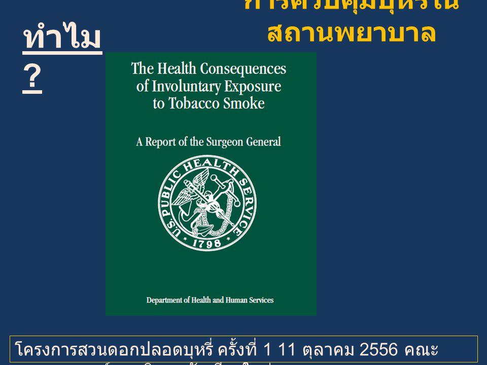 ทำไม ? โครงการสวนดอกปลอดบุหรี่ ครั้งที่ 1 11 ตุลาคม 2556 คณะ แพทยศาสตร์ มหาวิทยาลัยเชียงใหม่ การควบคุมบุหรี่ใน สถานพยาบาล