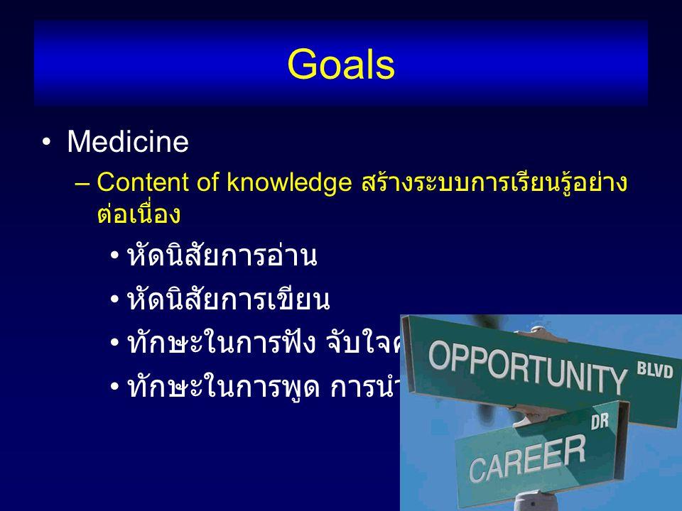 Goals Medicine –Content of knowledge สร้างระบบการเรียนรู้อย่าง ต่อเนื่อง หัดนิสัยการอ่าน หัดนิสัยการเขียน ทักษะในการฟัง จับใจความสำคัญ ทักษะในการพูด การนำเสนอ