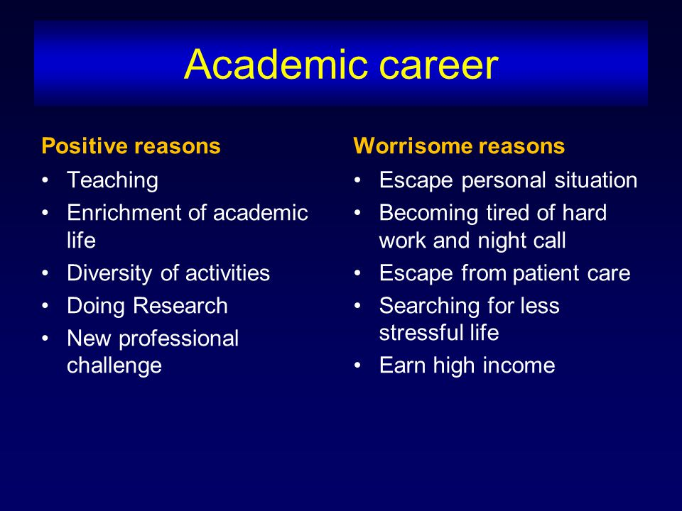 Academic career Positive reasons Teaching Enrichment of academic life Diversity of activities Doing Research New professional challenge Worrisome reas