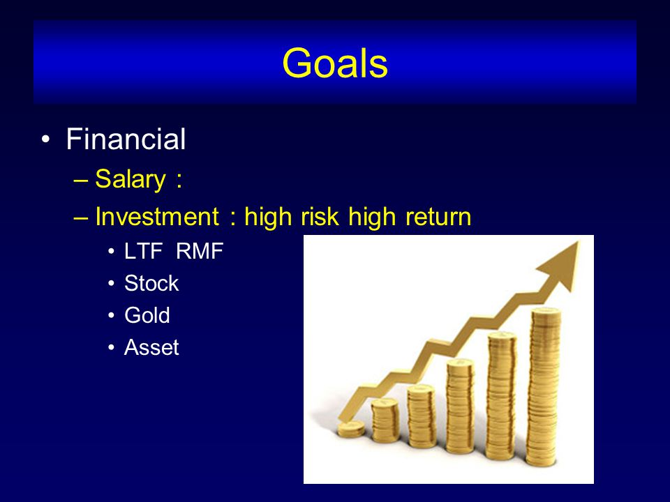 Goals Financial –Salary : –Investment : high risk high return LTF RMF Stock Gold Asset