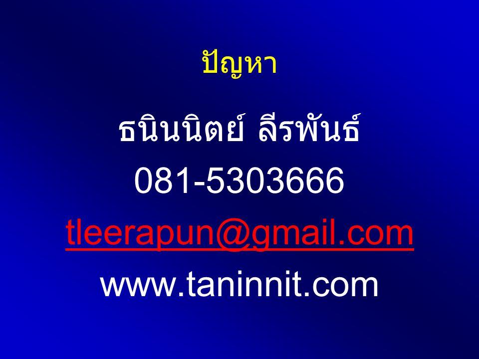 ปัญหา ธนินนิตย์ ลีรพันธ์ 081-5303666 tleerapun@gmail.com www.taninnit.com