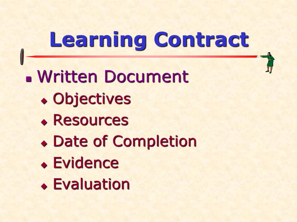 Learning Contract Written Document Written Document  Objectives  Resources  Date of Completion  Evidence  Evaluation