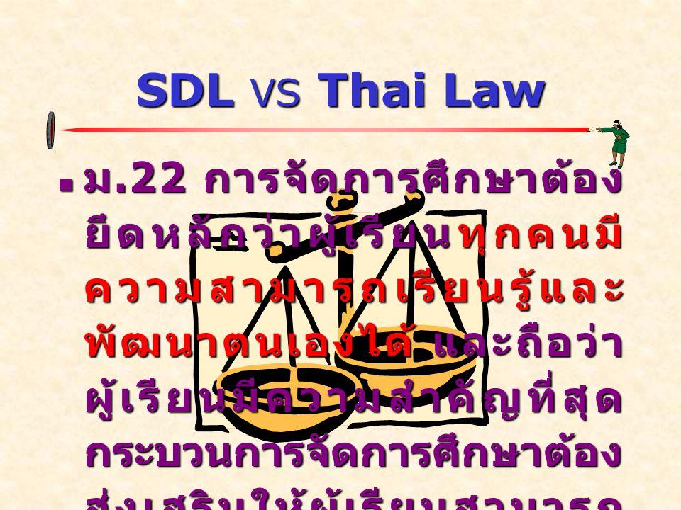 SDL VS Thai Law ม.24 การจัดกระบวนการเรียนรู้ ให้สถานศึกษาและหน่วยงานที่ เกี่ยวข้องดำเนินการดังต่อไปนี้ ม.24 การจัดกระบวนการเรียนรู้ ให้สถานศึกษาและหน่วยงานที่ เกี่ยวข้องดำเนินการดังต่อไปนี้ (1) จัดเนื้อหาสาระและกิจกรรม ให้สอดคล้องกับความสนใจและ ความถนัดของผู้เรียน โดย คำนึงถึงความแตกต่างระหว่าง บุคคล...