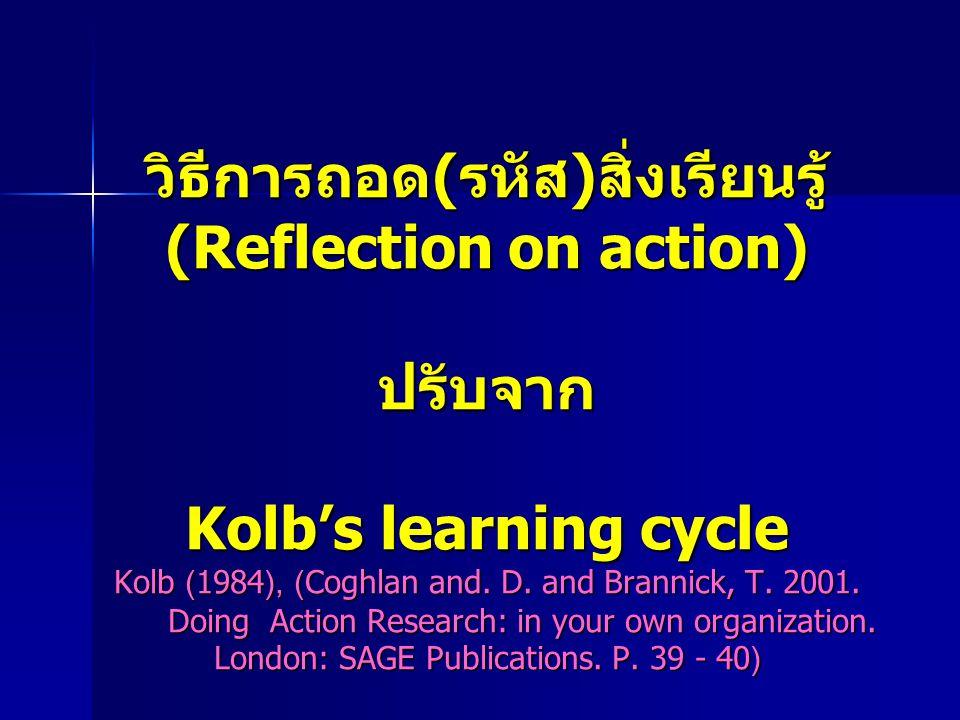 วิธีการถอด(รหัส)สิ่งเรียนรู้ (Reflection on action) ปรับจาก Kolb's learning cycle Kolb (1984), (Coghlan and. D. and Brannick, T. 2001. Doing Action Re
