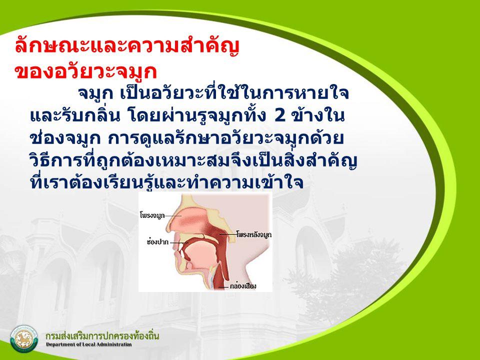 ลักษณะและความสำคัญ ของอวัยวะจมูก จมูก เป็นอวัยวะที่ใช้ในการหายใจ และรับกลิ่น โดยผ่านรูจมูกทั้ง 2 ข้างใน ช่องจมูก การดูแลรักษาอวัยวะจมูกด้วย วิธีการที่