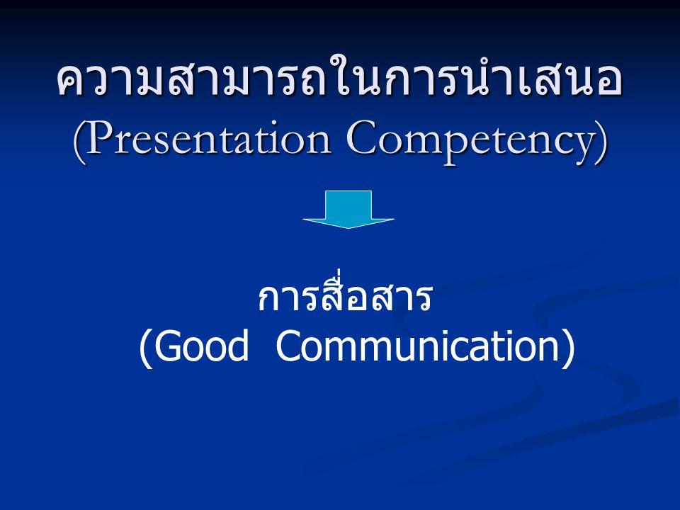 ความสามารถในการนำเสนอ (Presentation Competency) การสื่อสาร (Good Communication)